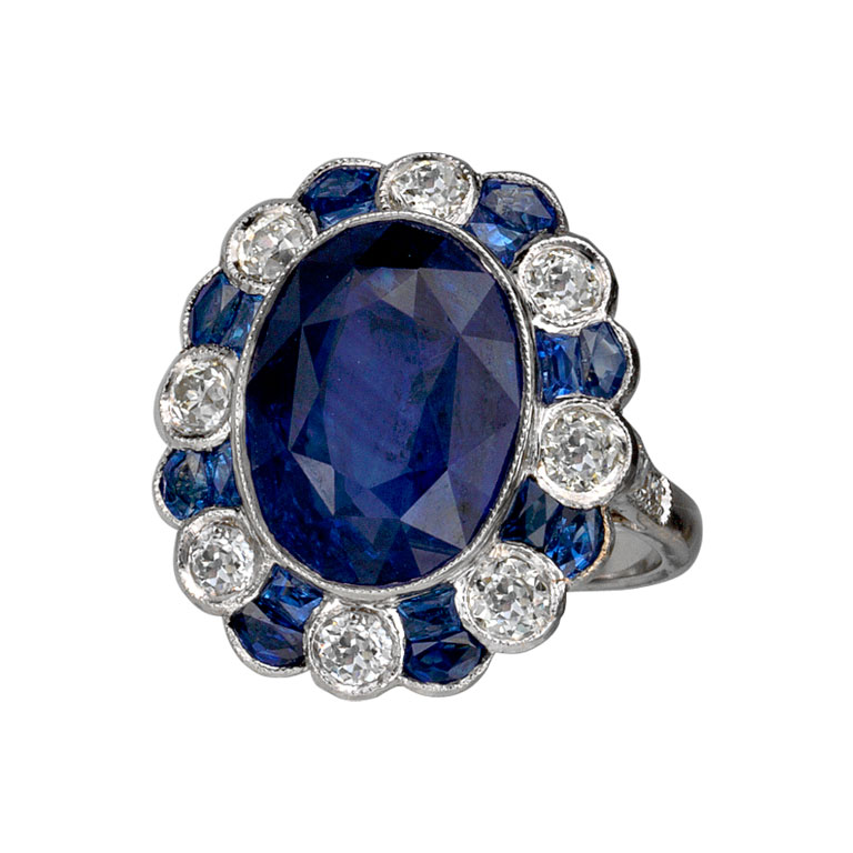 10 00 CT Sapphire and Diamond Ring EstateJeweler