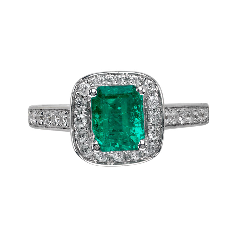 18k white gold 1 40 ct emerald and ring