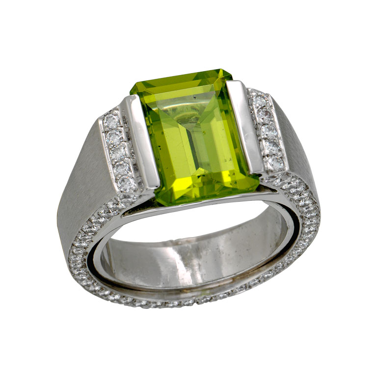 Well-liked Men's 3.80 Carat Emerald and Diamond Ring - EstateJeweler.com OO14